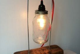 Mason jar lamp by Katy Warnock